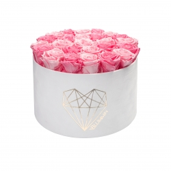 EXTRA LARGE LOVE WHITE VELVET BOX WITH MIX (BRIDAL PINK & BABY PINK) ROSES