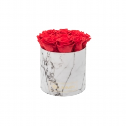 MEDIUM WHITE MARBLE BOX WITH VIBRANT RED ROSES