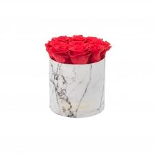 MEDIUM BLUMMiN WHITE MARBLE BOX WITH VIBRANT RED ROSES