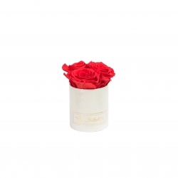 XS BLUMMiN - WHITE LEATHER BOX WITH VIBRANT RED ROSES