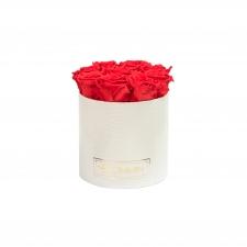 MEDIUM BLUMMiN - WHITE LEATHER BOX WITH VIBRANT RED ROSES
