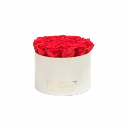 LARGE BLUMMiN - WHITE LEATHER BOX WITH VIBRANT RED ROSES