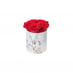 MIDI BLUMMiN WHITE MARBLE BOX WITH VIBRANT RED ROSES