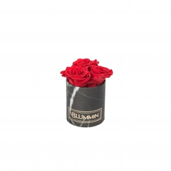 XS BLACK MARBLE BOX WITH VIBRANT RED ROSES