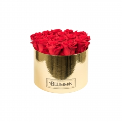 LARGE BLUMMiN - GOLDEN BOX WITH VIBRANT RED ROSES