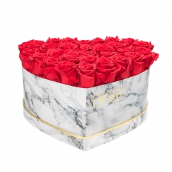 MARBLE FLOWERBOX WITH 29-31 VIBRANT RED ROSES
