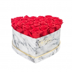 MARBLE FLOWERBOX WITH 25-27 VIBRANT RED ROSES