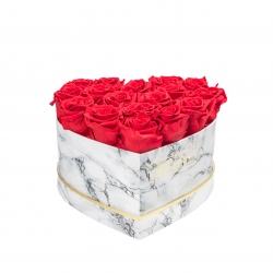 MARBLE FLOWERBOX WITH 17 VIBRANT RED ROSES