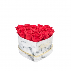 MARBLE FLOWERBOX WITH 13 VIBRANT RED ROSES