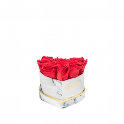 MARBLE FLOWERBOX WITH 7 VIBRANT RED ROSES
