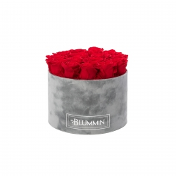 LARGE BLUMMIN LIGHT GREY VELVET BOX WITH VIBRANT RED ROSES