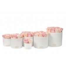 VALGE KERAAMIKA MIX (PEACHY PINK, ICE PINK, BRIDAL PINK) KAUASÄILIVATE ROOSIDEGA
