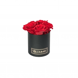 BLUMMIN MIDI BLACK BOX WITH  VIBRANT RED ROSES