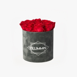 MEDIUM VELVET DARK GREY BOX WITH VIBRANT RED ROSES