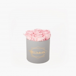 SMALL BLUMMiN - LIGHT GREY BOX WITH BRIDAL PINK ROSES