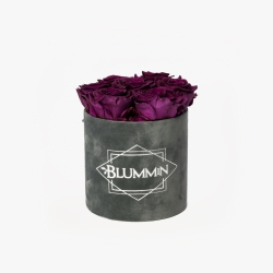 SMALL BLUMMiN - DARK GREY VELVET BOX WITH VINTAGE PLUM ROSES