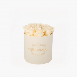 MEDIUM BLUMMIN CREAM WHITE BOX WITH CHAMPAGNE ROSES