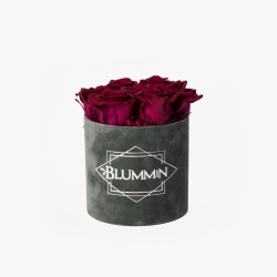 SMALL BLUMMiN - DARK GREY VELVET BOX CHERRY LADY ROSES