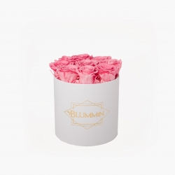 MEDIUM BLUMMIN WHITE BOX WITH BABY PINK ROSES