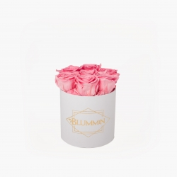 SMALL BLUMMiN - WHITE BOX WITH BABY PINK ROSES