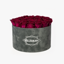EXTRA LARGE VELVET DARK GREY BOX WITH CHERRY LADY ROSES