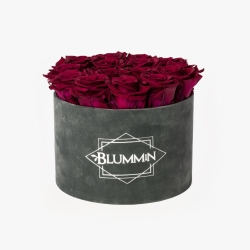LARGE BLUMMIN DARK GREY VELVET BOX WITH CHERRY LADY ROSES