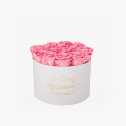 LARGE BLUMMIN - WHITE BOX WITH BABY PINK ROSES