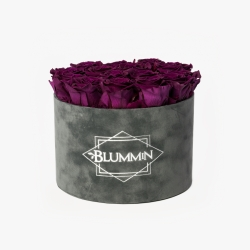 LARGE BLUMMIN DARK GREY VELVET BOX VINTAGE PLUM ROSES