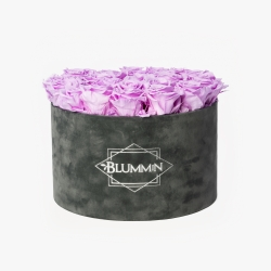 EXTRA LARGE VELVET DARK GREY BOX WITH BABY LILLY ROSES
