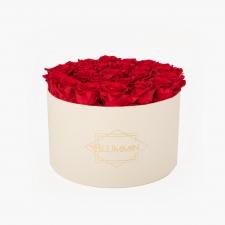 EXTRA LARGE BLUMMiN кремовая коробка с розами VIBRANT RED