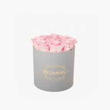 MEDIUM LIGHT GREY BOX WITH BRIDAL PINK ROSES