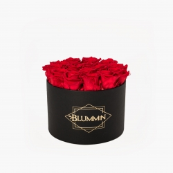 LARGE BLUMMIN - BLACK BOX WITH VIBRANT RED ROSES