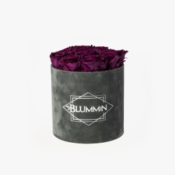 MEDIUM BLUMMIN DARK GREY VELVET BOX WITH VINTAGE PLUM ROSES