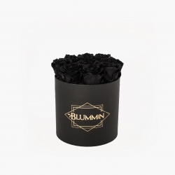 MEDIUM CLASSIC BLACK BOX WITH BLACK ROSES