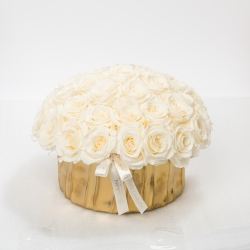 GOLDEN CERAMIC POT WITH 29-33 CHAMPAGNE ROSES
