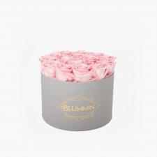 LARGE BLUMMIN LIGHT GREY BOX BRIDAL PINK ROSES