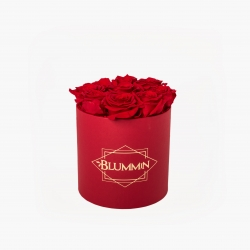 MEDIUM CLASSIC RED BOX WITH VIBRANT RED ROSES