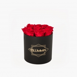 MEDIUM CLASSIC BLACK BOX WITH VIBRANT RED ROSES