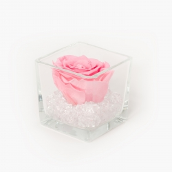 GLASS VASE WITH BRIDAL PINK ROSE AND CRYSTALS (8x8 cm)