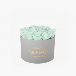 LARGE BLUMMIN - LIGHT GREY BOX WITH MINT ROSES