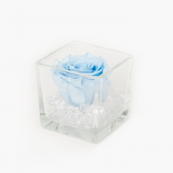 GLASS VASE WITH LIGHT BLUE ROSE AND CRYSTALS