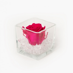 GLASS VASE WITH HOT PINK ROSE AND CRYSTALS
