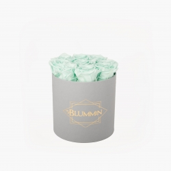 MEDIUM BLUMMIN LIGHT GREY BOX WITH MINT ROSES