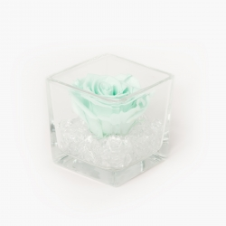 GLASS VASE WITH MINT ROSE AND CRYSTALS (8x8 cm)