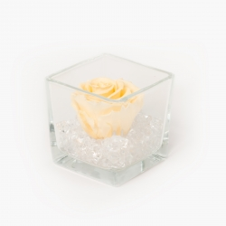 GLASS VASE WITH CHAMPAGNE ROSE AND CRYSTALS (8x8 cm)