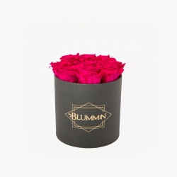 MEDIUM CLASSIC DARK GREY BOX WITH HOT PINK ROSES
