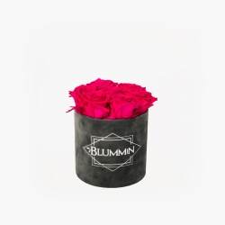 SMALL BLUMMiN - tumehall sametkarp HOT PINK roosidega