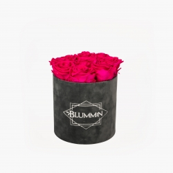 MEDIUM BLUMMIN DARK GREY VELVET BOX WITH HOT PINK ROSES