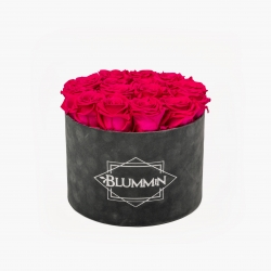 LARGE VELVET DARK GREY BOX WITH HOT PINK ROSES