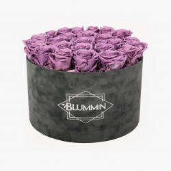 EXTRA LARGE BLUMMiN DARK GREY VELVET BOX WITH LILAC ROSES